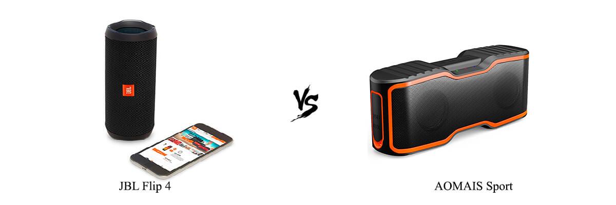 Compare JBL Flip 4 vs AOMAIS Sport side by side in 2019